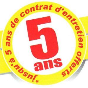 Promotion de 5 ans de garantie et d'entretien offerts